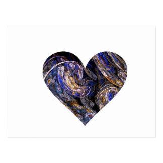 Diseño remolinado multicolor del corazón del arte tarjetas postales