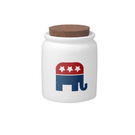 Diseño republicano del logotipo del elefante del G Platos Para Caramelos
