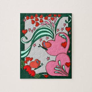 Diseño retro 60s de los corazones puzzle