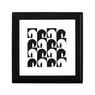 Diseño retro blanco negro del caballo del ajedrez cajas de regalo