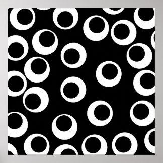 Diseño retro blanco y negro de moda posters