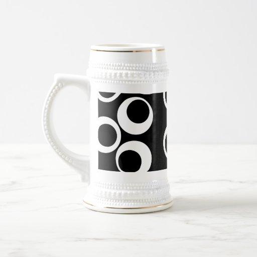 Diseño retro blanco y negro de moda jarra de cerveza