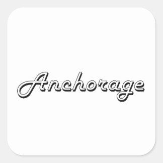 Diseño retro clásico de Anchorage Alaska Pegatina Cuadrada