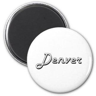 Diseño retro clásico de Denver Colorado Imán Redondo 5 Cm