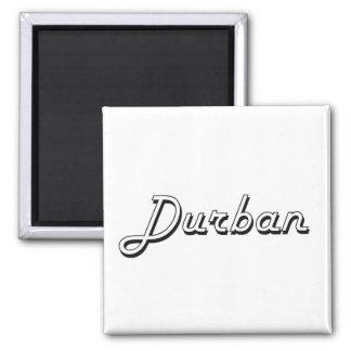 Diseño retro clásico de Durban Suráfrica Imán Cuadrado