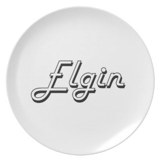 Diseño retro clásico de Elgin Illinois Platos