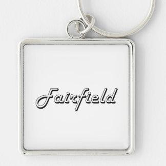 Diseño retro clásico de Fairfield California Llavero Cuadrado Plateado