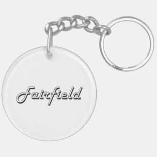 Diseño retro clásico de Fairfield California Llavero Redondo Acrílico A Doble Cara
