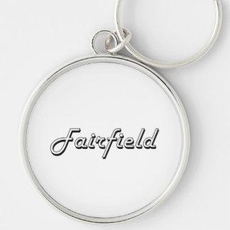 Diseño retro clásico de Fairfield California Llavero Redondo Plateado