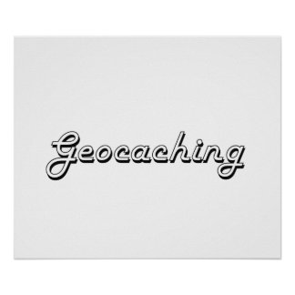 Diseño retro clásico de Geocaching Póster