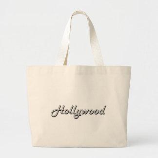Diseño retro clásico de Hollywood la Florida Bolsa Tela Grande