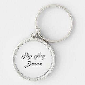 Diseño retro clásico de la danza de Hip Hop Llavero Redondo Plateado