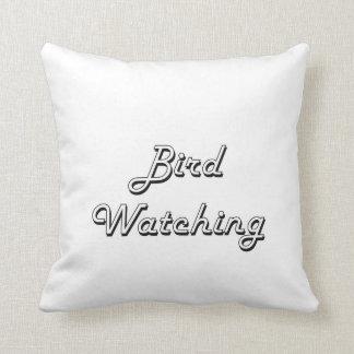 Diseño retro clásico de la observación de pájaros cojin