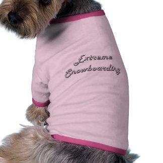 Diseño retro clásico de la snowboard extrema camiseta con mangas para perro