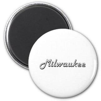 Diseño retro clásico de Milwaukee Wisconsin Imán Redondo 5 Cm