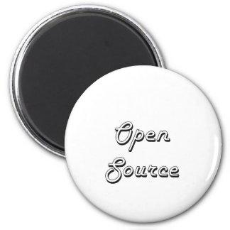 Diseño retro clásico de Open Source Imán Redondo 5 Cm