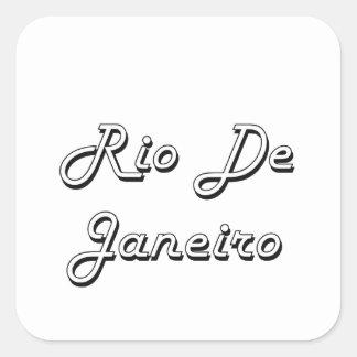 Diseño retro clásico de Río de Janeiro el Brasil Pegatina Cuadrada