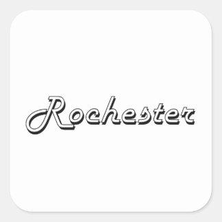 Diseño retro clásico de Rochester Nueva York Pegatina Cuadrada