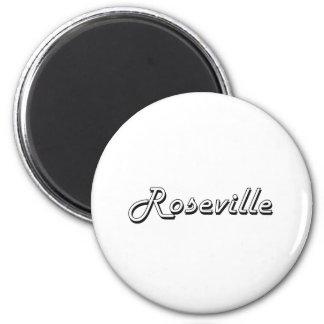 Diseño retro clásico de Roseville California Imán Redondo 5 Cm