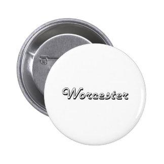 Diseño retro clásico de Worcester Massachusetts Pin Redondo 5 Cm