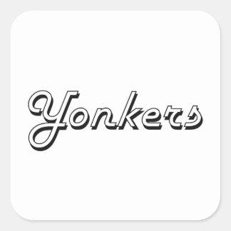 Diseño retro clásico de Yonkers Nueva York Pegatina Cuadrada