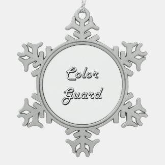 Diseño retro clásico del guardia de honor adorno de peltre en forma de copo de nieve