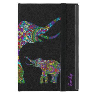 Diseño retro colorido del elefante 3 de la flor de iPad mini carcasas