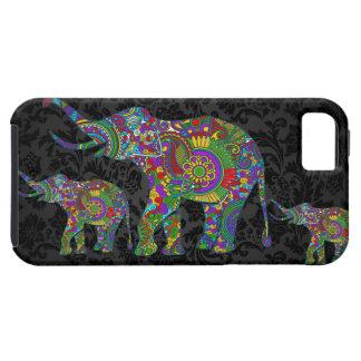 Diseño retro colorido del elefante 3 de la flor iPhone 5 funda