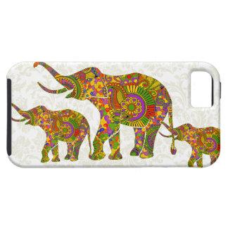Diseño retro colorido del elefante 4 de la flor iPhone 5 cárcasa