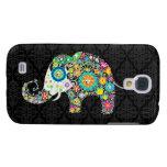 Diseño retro colorido del elefante de la flor