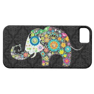 Diseño retro colorido del elefante de la flor iPhone 5 cárcasa