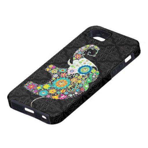 Diseño retro colorido del elefante de la flor iPhone 5 protector