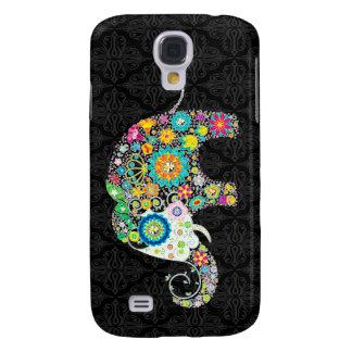 Diseño retro colorido del elefante de la flor funda para galaxy s4