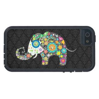 Diseño retro colorido del elefante de la flor iPhone 5 carcasas