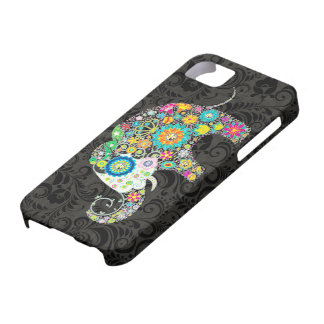 Diseño retro colorido del elefante de las flores iPhone 5 Case-Mate carcasas