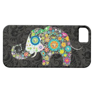 Diseño retro colorido del elefante de las flores