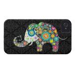 Diseño retro colorido del elefante de las flores iPhone 4 fundas