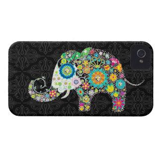 Diseño retro colorido del elefante de las flores funda para iPhone 4 de Case-Mate