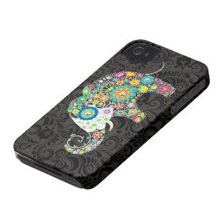 Diseño retro colorido del elefante de las flores iPhone 4 Case-Mate cárcasas