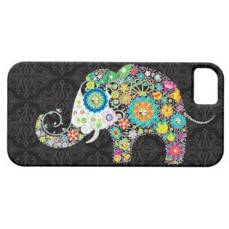 Diseño retro colorido del elefante de las flores iPhone 5 fundas