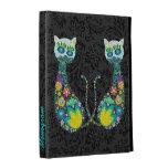 Diseño retro colorido del gato de la flor