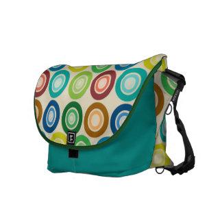 Diseño retro colorido del lunar bolsas de mensajería
