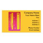 Diseño retro de la cinta de casete en rosa y amari plantillas de tarjetas de visita