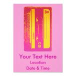 Diseño retro de la cinta de casete en rosa y invitación 12,7 x 17,8 cm