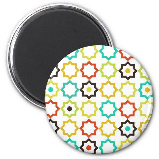 Diseño retro de la estrella de cinco puntos imán redondo 5 cm