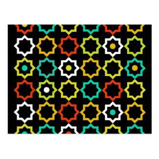 Diseño retro de la estrella de cinco puntos - negr tarjetas postales