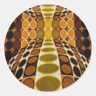 Diseño retro de la ilusión óptica pegatina redonda