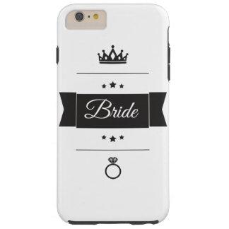 Diseño retro de la tipografía de la novia funda resistente iPhone 6 plus
