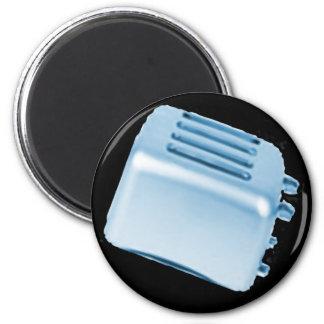 Diseño retro de la tostadora del vintage - azul iman de nevera