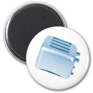 Diseño retro de la tostadora del vintage - azul imán de frigorífico